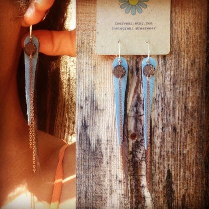 Recycled Leather Feather Earrings with Coconut and Copper | faerwear