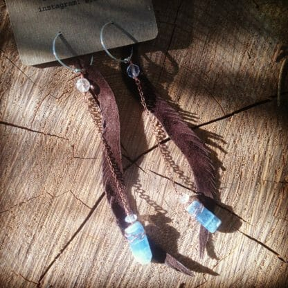 Brown Suede Leather Feather Kyanite Earrings with Quartz | faerwear
