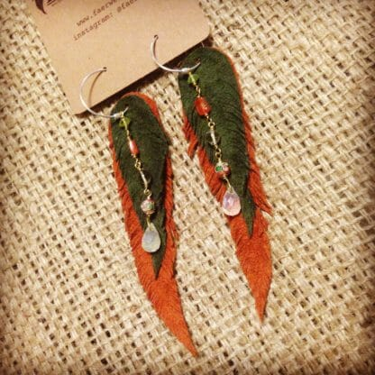 Rust and Forest Green Feather Earrings with Cloisonné and Citrine   faerwear