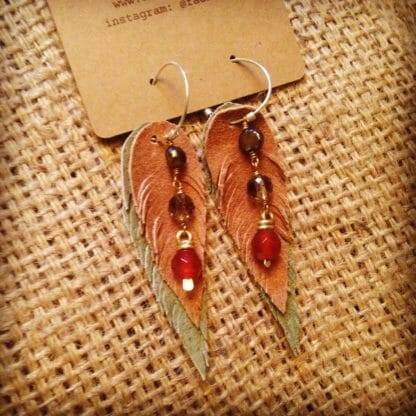 Suede and Hammered Brass Earrings with Carnelian, Smoky Quartz | faerwear