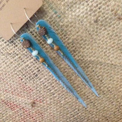 Vegan leather ultrasuede feather earrings with coconut, amazonite, petrified wood and rainbow hematite | faerwear