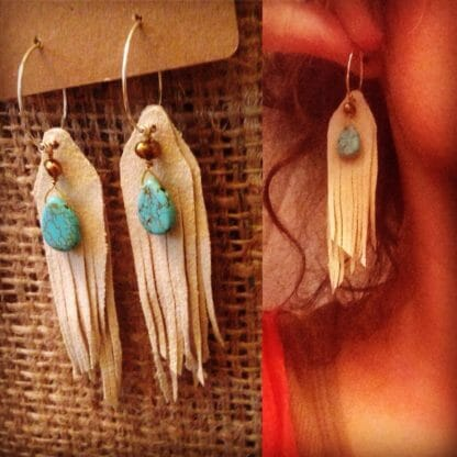 Short Fringe Earrings with Turquoise Howlite and Freshwater Pearls | faerwear