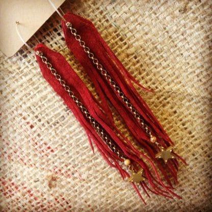 Long Rust Suede Fringe Earrings with Brass Stars | faerwear
