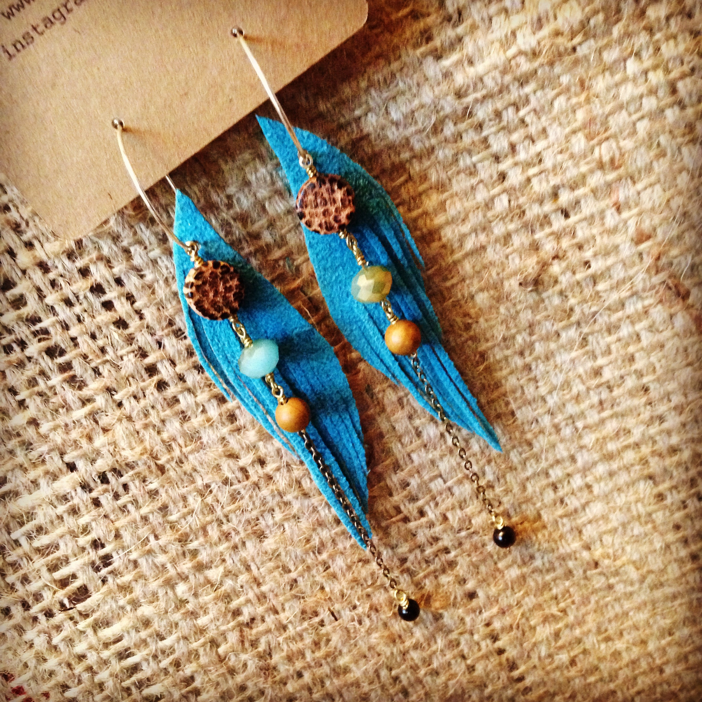 Vegan Teal Ultrasuede Seraphim Wing Earrings with Coconut and Gems | faerwear