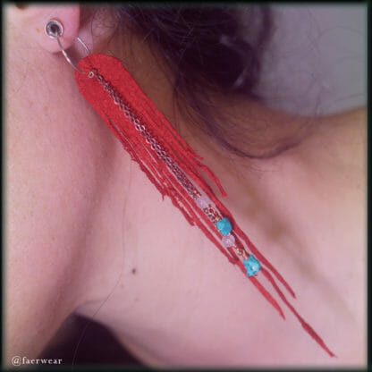 Red suede dryad wing earrings with turquoise and rose quartz | faerwear