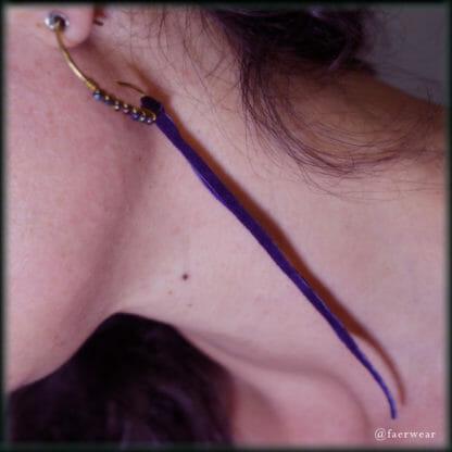 Rainbow Hematite Earrings – Primitive Brass Hoops with Purple Tendrils   faerwear