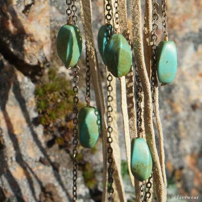 Lambskin chandelier earrings with turquoise   faerwear