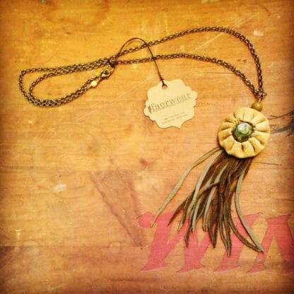 Leather Boho Tassel Necklace with Green Agate and Handsewn Leather Button | faerwear