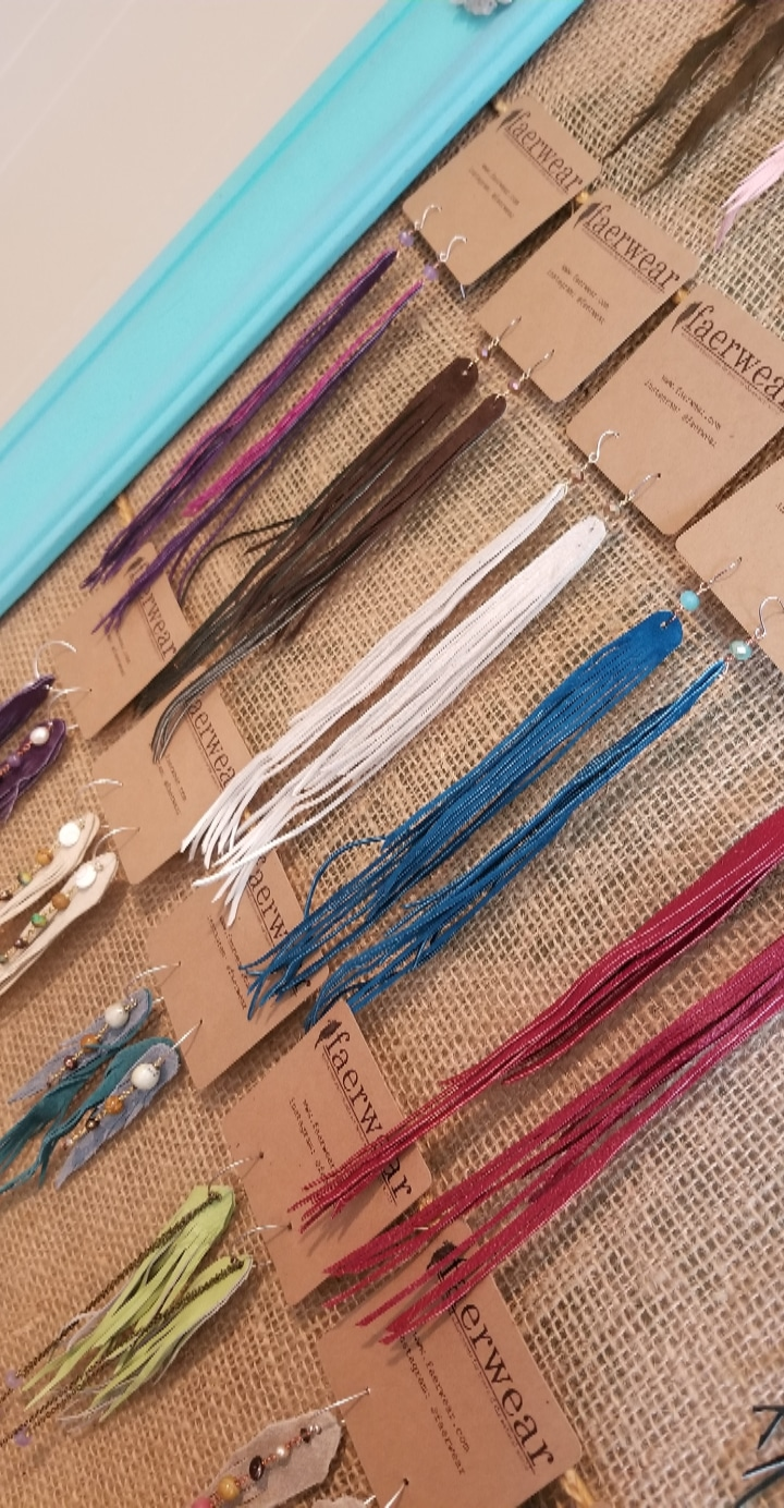 Summer Swag | Long Fringe Earrings | Long Feather Earrings | Upcycled Leather Jewelry | faerwear designs